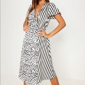 """PLT Mixed Print """"Wrap"""" Dress"""